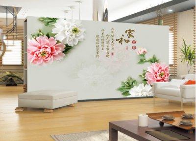 家和富贵牡丹浮雕玉雕琉璃背景墙2