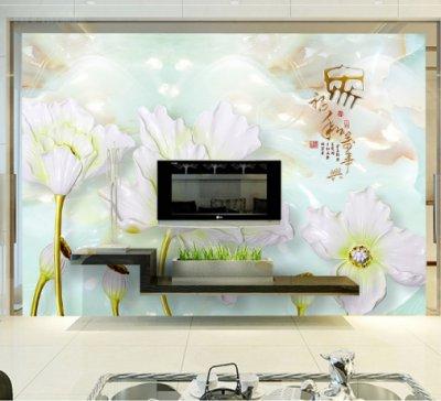 家和万事兴荷花浮雕电视背景墙2