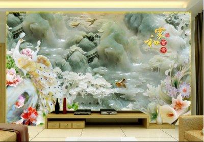 家和富贵玉雕孔雀牡丹山水客厅电视背景墙