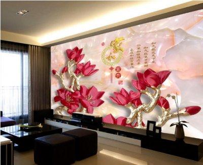 雅舍兰香玉兰花浮雕电视背景墙装饰画