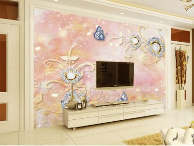 精品高端浮雕花朵3d立体电视背景墙1